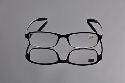 De Ding Tr90 Black Frame Unisex Reading Glasses (black, 1.5 x)