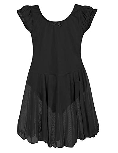 ZIZI Toddler Girls' Cotton Flutter Sleeve Ballet Halloween Black Leotard 3T -