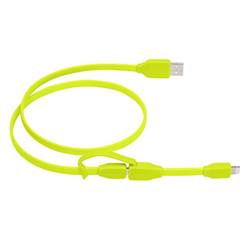 Tylt Syncable-Duo 1' Charge and Sync Cable with Lightning & Micro USB Connector for iPod/iPhone/iPad, Green by Technocel (Image #2)