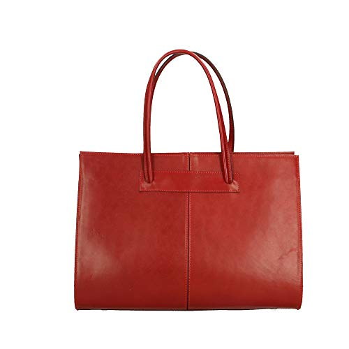 Chicca Main En documents Sac Rouge Cuir Porte In Italy À 40x30x12 Made Borse Véritable Cm trXYwqt