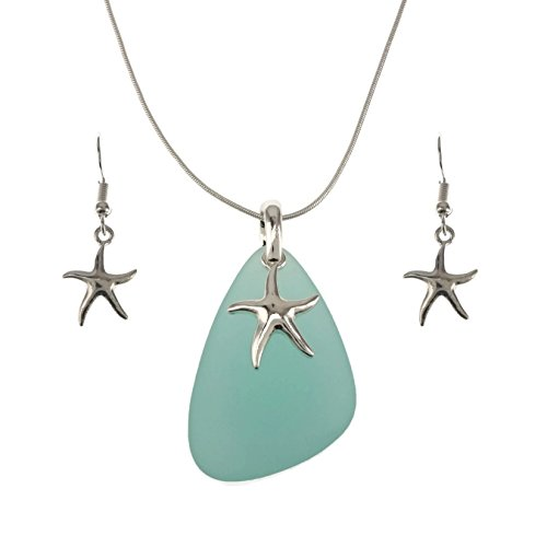 Glass Necklace Starfish (Jucicle Blue Sea Glass Pendant Long Necklace 27
