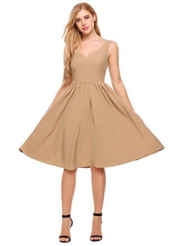 ACEVOG Womens Sleeveless V-Neck A Line Swing Pleated Simple High Waist Dress