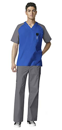 (WonderWink WonderFLEX Men's Medical Uniforms Scrub Set Bundle- 6818 Anchor V-Neck Scrub Top & 5618 Loyal Scrub Pants & MS Badge Reel (Royal/Pewter - Small/Small))