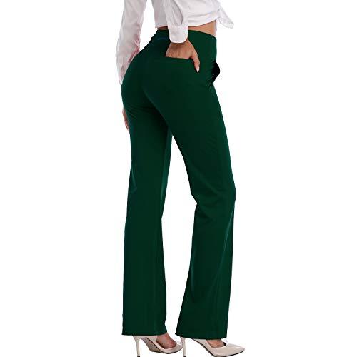 HISKYWIN Womens High Waist Yoga Pants 4 Way Stretch Tummy Control Workout Running Pants, Long Bootleg Flare Pants F205-Dark Green-L