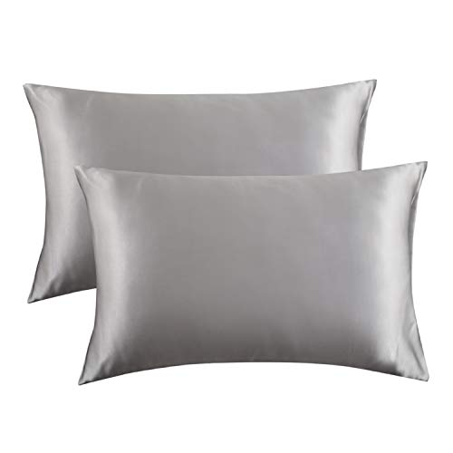 Bedsure Satin Pillowcase for Hair and Skin, 2-Pack - Queen Size (20x30 inches) Pillow Cases - Satin Pillow Covers with Envelope Closure, Silver Grey (Euro Spa Baby)