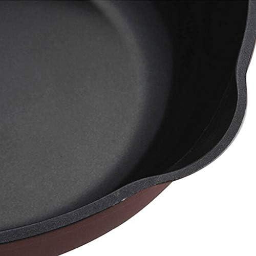 合金素材無煙ノンスティック30cm /カバー付き GMING (Color : Brown, Size : 30cm in diameter)