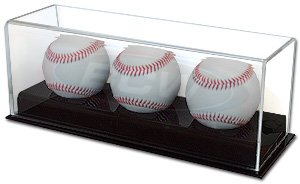 BCW Deluxe Acrylic Triple (3) Baseball Holder Display - Sports Memoriablia Display Case - Sportscards Collecting Supplies