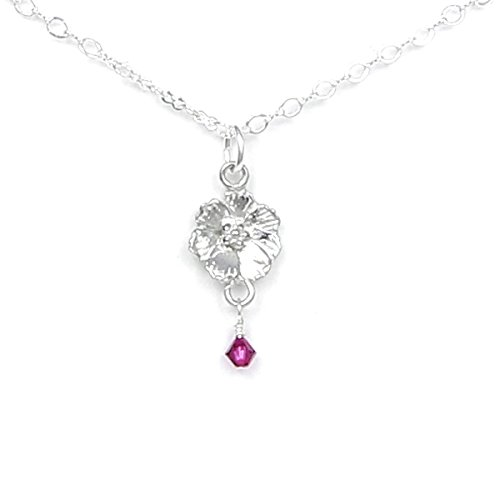 (October Flower Cosmos Necklace with Birthstone Colored Crystal - Gift Packaged - Handcrafted Pewter Made in USA)
