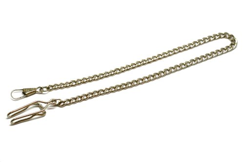 Carrie Hughes Silver Stainless steel FOB Pocket watch Vest Chain with Clip CH369 (Silver Stainless Steel Watch Pocket)