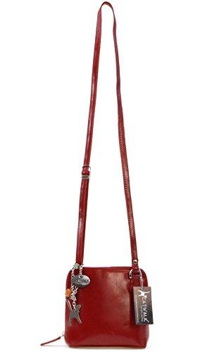 Umhängetasche Lena aus Leder von Catwalk Collection - GRÖßE: B: 16.5 H: 16 T: 8 cm Rot 3MQkh
