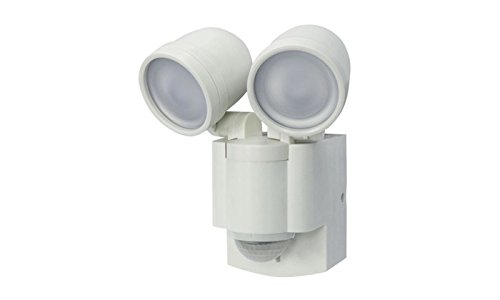 LB-1403 Battery Operated, Motion Security, Twin Head LED Light, White (Also Available in Bronze)