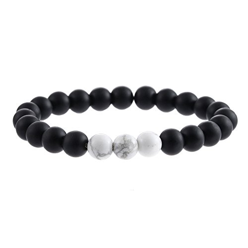 Mens Black Onyx (SX Commerce Real Natural Matte Black Onyx Stone Bead Bracelet with Unique Tiger Eyes - Fashion Jewelry for unisex-adult size 8mm 26grain (Black B1313))