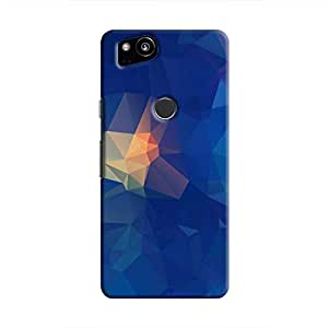 Cover It Up - Blue Pixel Orange Triangles Google Pixel 2 Hard Case