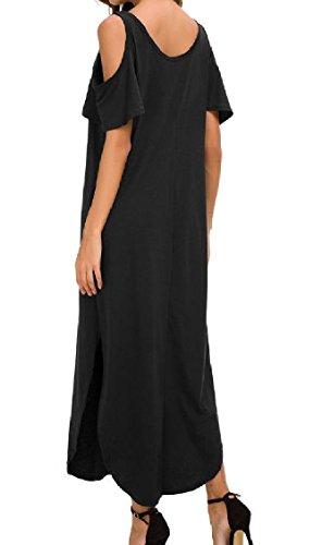 Coolred-femmes Baggy Épaule Froid Cou Pur Équipage Couleur Robe Classique Noir