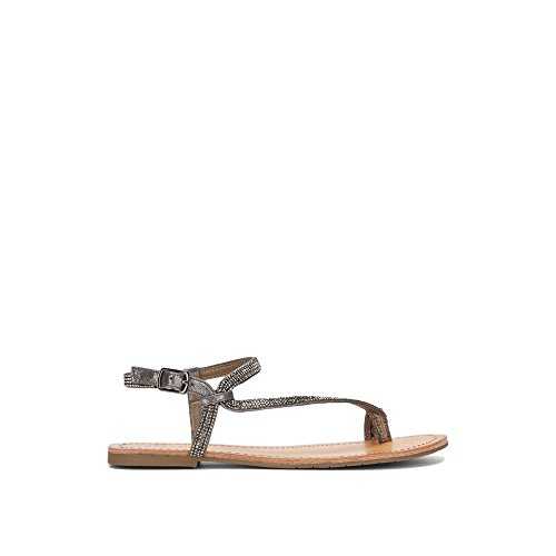 Kenneth Cole Reaction Women Shoes - Kenneth Cole REACTION Women's Just Braid Toe Ring and Ankle Straps Flat Sandal, Pewter, 8.5 M US