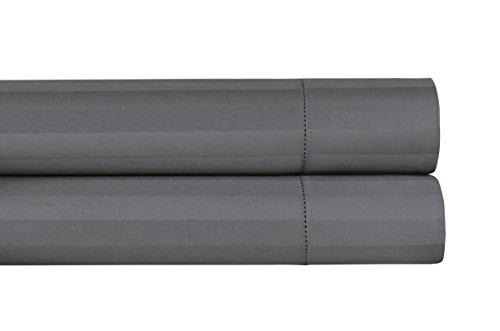 Threadmill Home Linen 500 Thread Count 100% ELS Cotton Sheets Damask Stripe Standard Pillowcases, Set of 2 Standard Pillowcases Luxury Bedding, Smooth Sateen Weave, Standard Size, Dark Grey from Threadmill Home Linen