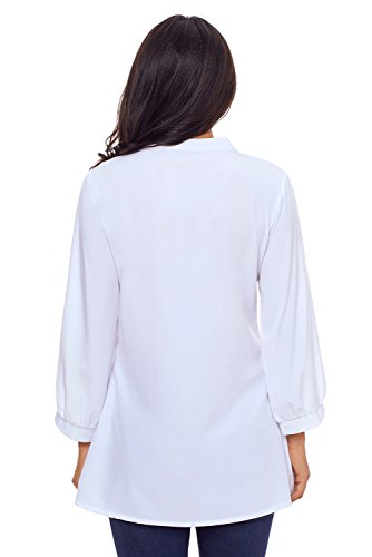Neuf Blanc en dentelle et détail plissé à boutons Blouse de soirée pour femme Tenue décontractée d'été Taille UK 10EU 38