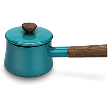 AIDEA Enameled Hefty Sauce Pan Cast Iron 1-Quart, Heavy Duty, Wooden Handle,Handy Super Sturdy Pot for Kitchen Christmas Gifts-Turquoise