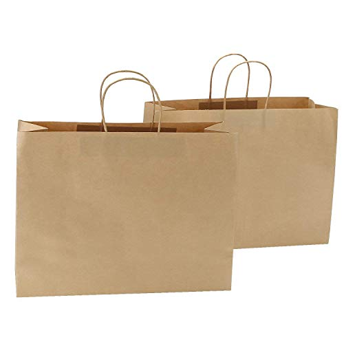 250pcs Kraft Paper Shopping Bag,16 x 6 x 12 1/2
