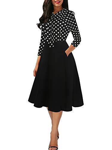 - oxiuly Women's Vintage Polka Dot Contrast Slim Bow Tie V-Neck Pockets Swing Dress OX278 (XXL, Dot-bk P7)