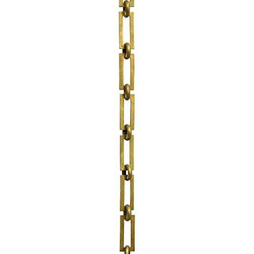 RCH Hardware CH-01-AB-3 Decorative Antique Solid Brass Chain for Hanging, Lighting - Rectangular Square Edge and Unwelded Links (3 ft/1 Yard)