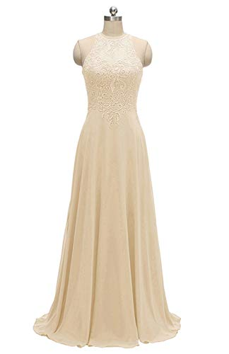 - Women's Halter Bridesmaid Dresses Chiffon Long A-Line Lace Formal Wedding Party Gowns 2019 Champagne Size 10