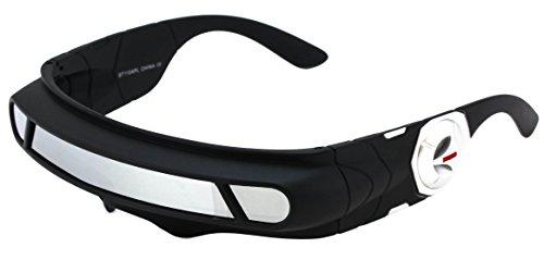147 Sunglasses - Futuristic Space Alien Costume Party Cyclops Shield Colored Mirror Mono Lens Wrap Sunglasses 147mm (Silver Mirror, 147)