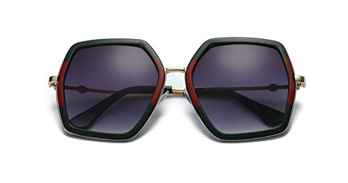 Oversized Geometric Sunglasses for Women Fashion Chic Square Aviator Frame (Multi Tinted, ()