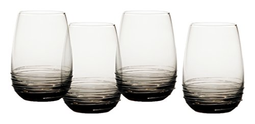 Mikasa Swirl Smoke Stemless Wine Glass (Set of 4), 16.5 oz