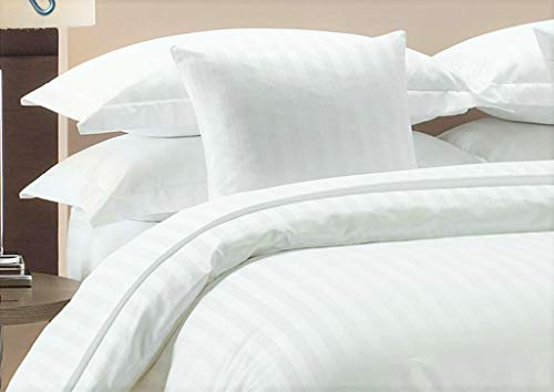 Duvet Cover With Zipper Closure 1pc Duver Cover Oversized Super King (120'' x 98'') Size With Corner Ties,100% Egyptian Cotton 1000 Thread Count (Oversized Super King Size White Stripe)