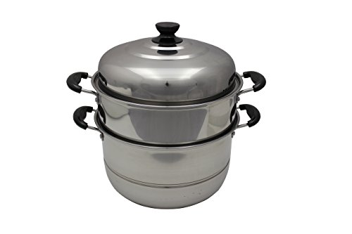 YITEYA Dual Tier Full Stainless Steel Steamer Cookware (14 IN)