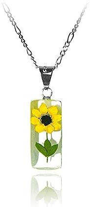 Dije/Collar Cilindro con Girasol Natural, Fondo Blanco, Cadena Plata 45 cm, TAMI, Joyería Floral