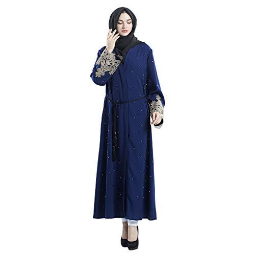 TOYFUNNY Muslim Women's Cardigan Robe Embroidered Handmade Beaded Dress F8855 Navy