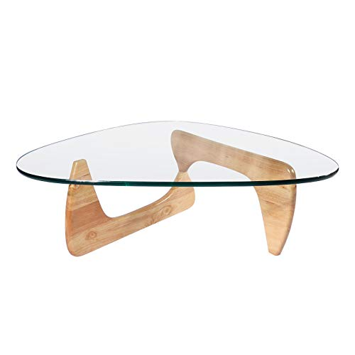 Glass Natural Wood Table - Rimdoc Triangle Glass Coffee Table,Mid Century Noguchi Coffee Table,Vintage Wood Glass Table,Solid Wood Base and Clear Glass Top Modern Coffee Table for Living Room,Patio,Study (Natural Wood)