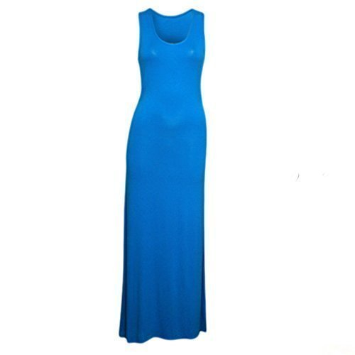sans t fashionchic longue Turquoise robe nageur 8 femme manche grande Dbardeur dos col jersey taille rond uni 26 AYg1AR