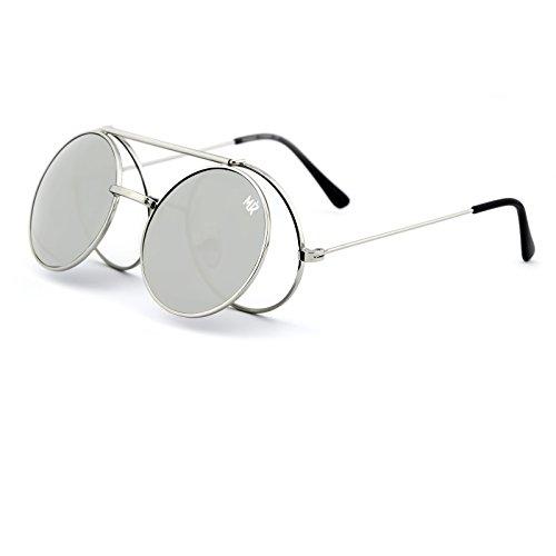 soleil Silver MYRETRO® de homme FLIP ronde Silver vintage PICCADILLY Lunettes mod UP femmes Eq7w1Ed5U