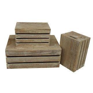 Red Hamper Set of 3 Oak Effect Lidded Storage Box