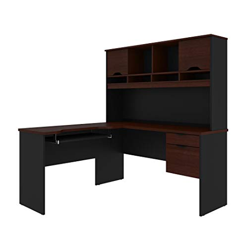 (Bestar L-Shaped Desk with Dual Half Pedestal and Hutch - Innova)