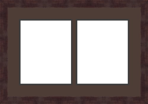 Art to Frames Double-Multimat-604-776/89-FRBW26061 Collage Frame Photo Mat Double Mat with 2 - 8x10 Openings and Espresso frame