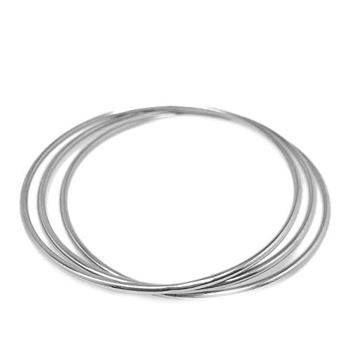 Loralyn Designs LD Thin Round Stainless Steel Bangle Bracelets for Women (Set of 3)