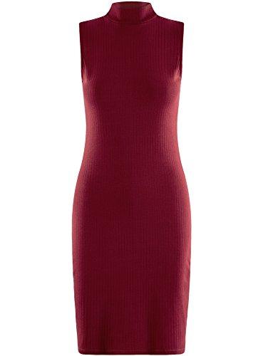 oodji Longue en Mi Robe Maille 4900n Rouge Ultra Femme Sxq4PwS7