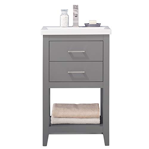 """LC20FGP Dublin 20"""" Bathroom Vanity Set in French Gray Made with Hardwood and Integrated Porcelain Top"""