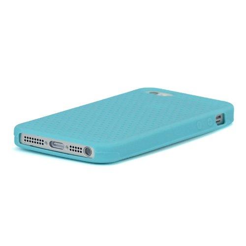 iProtect Silikon Schutzhülle iPhone 5 / 5S flexibles Case mit Lochmuster blau