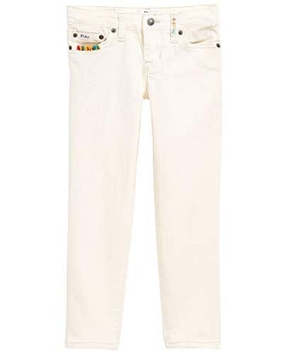 Ralph Lauren Polo Girls Embroidered Waverly Straight Stretch Jeans (12) Off White