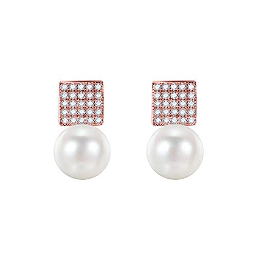 (HHXD Earring,Sterling Silver Pearl Exquisite Shine Zircon Earrings,Elegant Temperament Dangler Classic/Rose Gold / 1.3 x 0.8 cm)