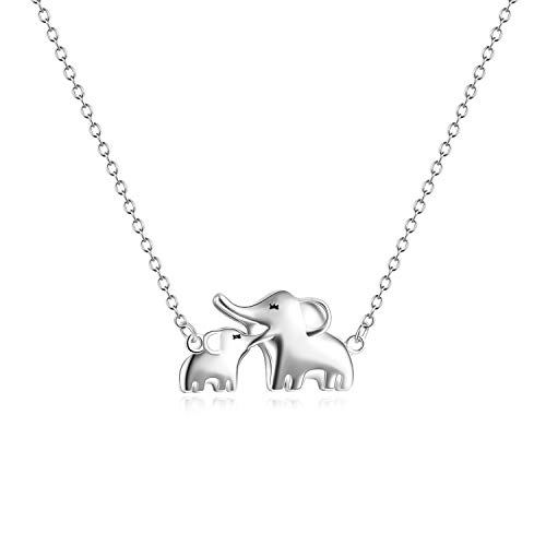 YFN Mom Baby Elephant Necklace Sterling Silver Good Luck Elephant Necklace for Mon Women (mom baby necklace)