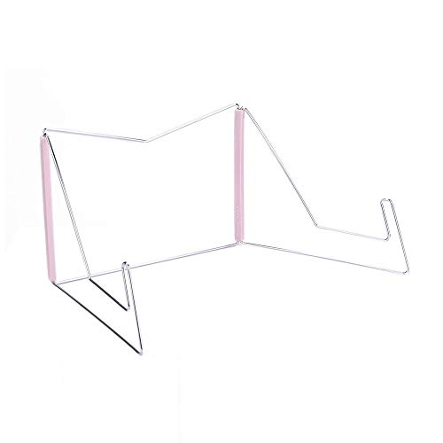 Book Stand for Textbooks,Portable Book Holder for Reading,Hands Free Metal Wire Cook Book Stand Holders for Kitchen Recipe Display,Hardcover Medical Law Textbook Desktop Bookrest for Study (Pink)