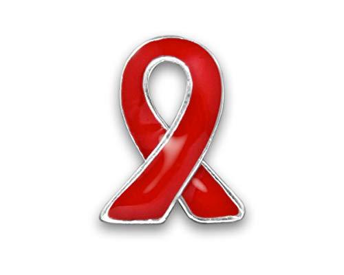 Red Ribbon Awareness Lapel Pin (25 Pins Individually Bagged) -