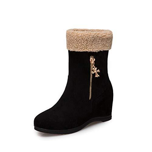 HRCxue Pumps Bequeme runde Kopf warme Baumwolle Schuhe Metall Reißverschluss Schneestiefel Matte Damen Kurze Stiefel, schwarz, 35