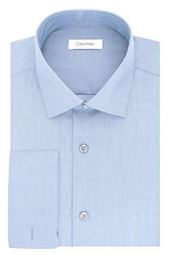 Calvin Klein Men's Non Iron Slim Fit Herringbone French Cuff Dress Shirt, Blue, 15